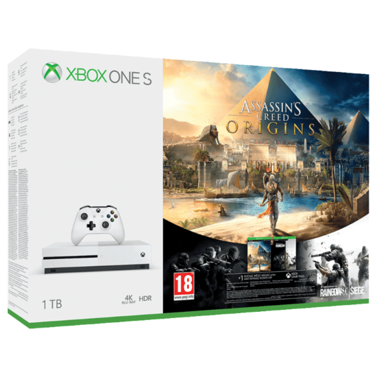 Microsoft Xbox One S 1TB + Assassin's Creed Origins + Rainbow 6 Siege
