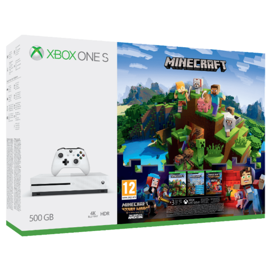 Microsoft Xbox One S 500GB + Minecraft (White)