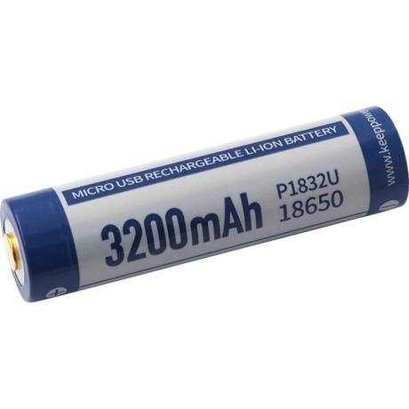 KeepPower 18650 3,7V 3200mAh védett Li-ion akkumulátor USB