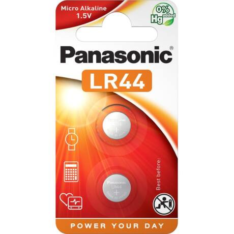 Panasonic LR44EL/2B alkáli gombelem 2db/bliszter