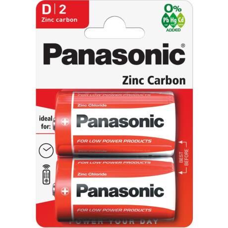 Panasonic Red Zinc D/góliát 1.5V cink-mangán tartós elemcsomag